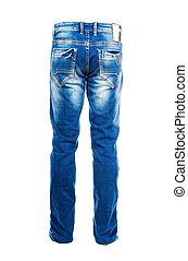 Blue jeans isolated on the white background