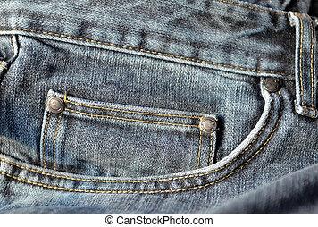 Blue jeans pocket close up.