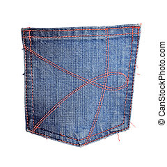 Blue jeans pocket isolated on white