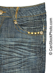 Blue jeans pocket on white