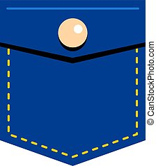 Blue jeans pocket with button icon isolated