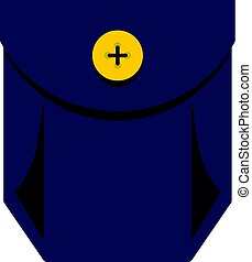 Blue jeans pocket with yellow button icon isolated