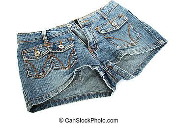Blue jeans shorts isolated on white background.