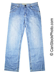Blue jeans isolated over the white background
