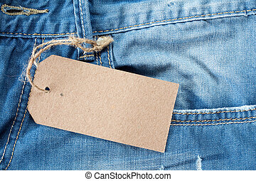 Blue jeans with blank tag