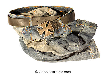 Blue jeans with old black leather strap and buckle the old...