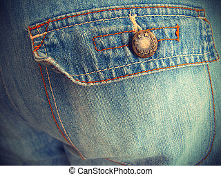 Blue jeans with pockets close-up