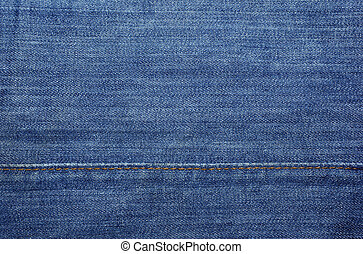 Blue jeans with yellow stitches as textile abstract backdrop or background.