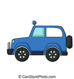 Blue jeep icon, cartoon style