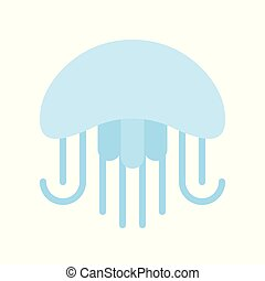 Blue jelly fish flat design icon on white background - Blue ...