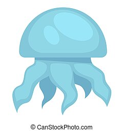 Blue jelly fish - Vector illustration of simple blue colored...