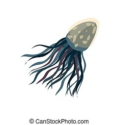 Blue jellyfish close up. Vector illustration on white background.