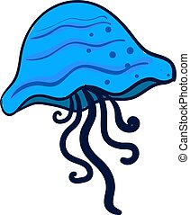 Blue jellyfish, illustration, vector on white background.