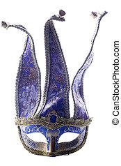 Blue Jester masquerade mask