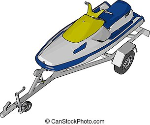 Blue jetski, illustration, vector on white background.