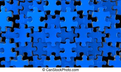 Blue jigsaw puzzle on black background. 3DCG render...