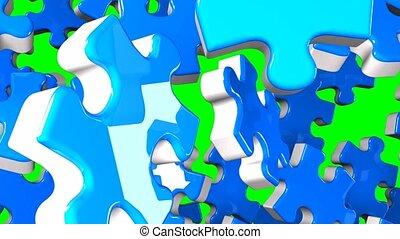 Blue jigsaw puzzle on green chroma key. 3DCG render...