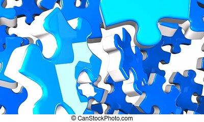 Blue Jigsaw Puzzle On White Background. 3DCG render...