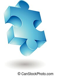 Blue jigsaw - Glossy blue jigsaw isolated on white