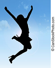 Blue joy - silhouette of a happy woman jumping