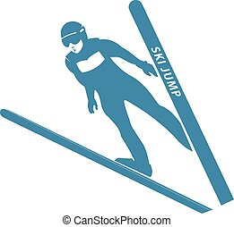 Blue Jumping skier silhouette. Vector illustration