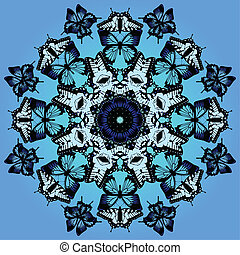 Swarm of blue and white butterflies in kaleidoscope pattern