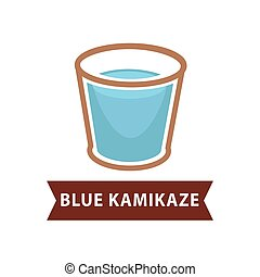 Blue Kamikaze of long drinks in old fashion goblet on white...