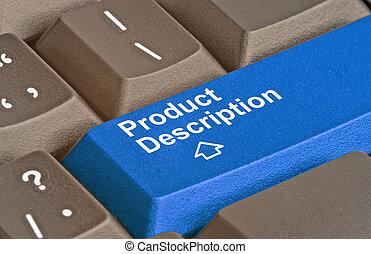 Blue key for product description