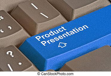 Blue key for product presentation