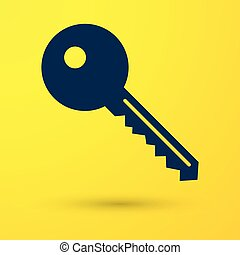 Blue Key icon isolated on yellow background. Vector Illustration