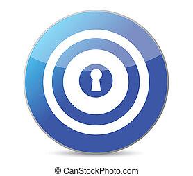 blue key target illustration design on a white background