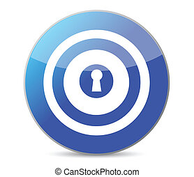 blue key target illustration design on a white background