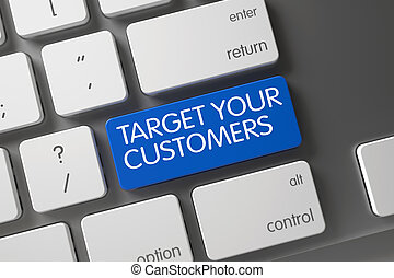 Blue Key - Target Your Customers. 3D.
