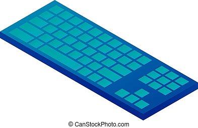 Blue keyboard icon, isometric style