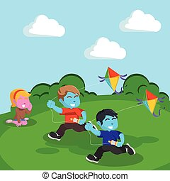 blue Kids playing kite at the hill