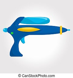 Blue kids toy ,cosmic water gun on a white background.
