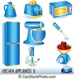 Collection of eight blue kitchen appliances... and a cup of cappuccino.