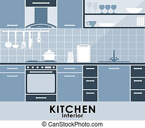 Blue kitchen interior in flat style
