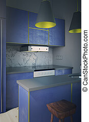 Blue kitchen side
