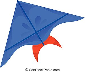 Blue kite icon, cartoon style
