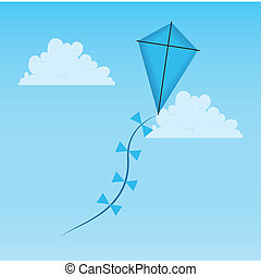 kite - blue kite on abstract sky background