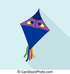 Blue kite with eyes icon, flat style