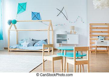 Blue kites in kids bedroom