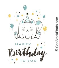 Blue Kitty with Lettering Happy Birthday on White Background