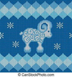 Blue knitted background with sheep