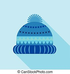 Blue knitted hat icon, flat style