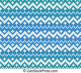 Blue knitted Scandinavian ornament seamless pattern