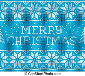 Blue knitted seamless pattern with sign Merry Christmas - ...