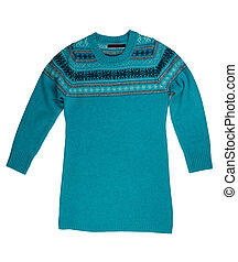 Blue knitted sweater.