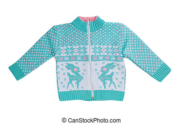 Blue knitted sweater with a deer.